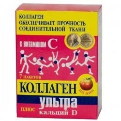 Коллаген ультра плюс кальций-Д, 8 г №7 яблоко пакет